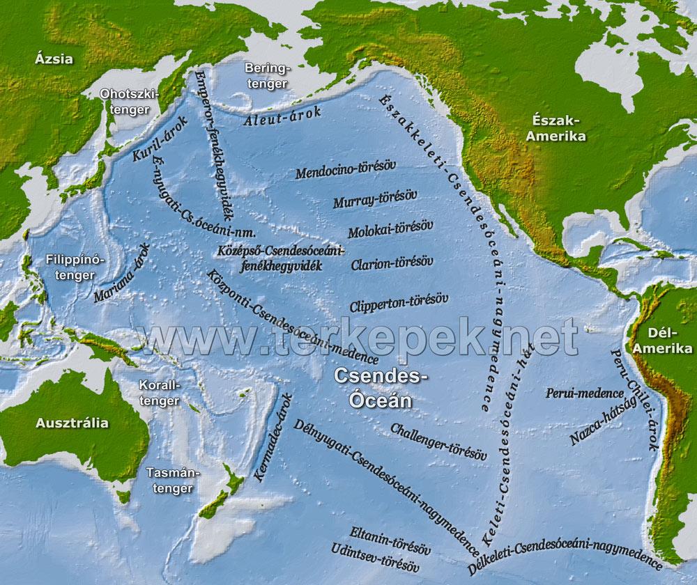 indiai óceán térkép Csendes óceán domborzati térképe